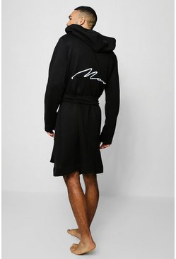 Mens Black Jersey Fleece Hooded Robe With MAN Embroidery