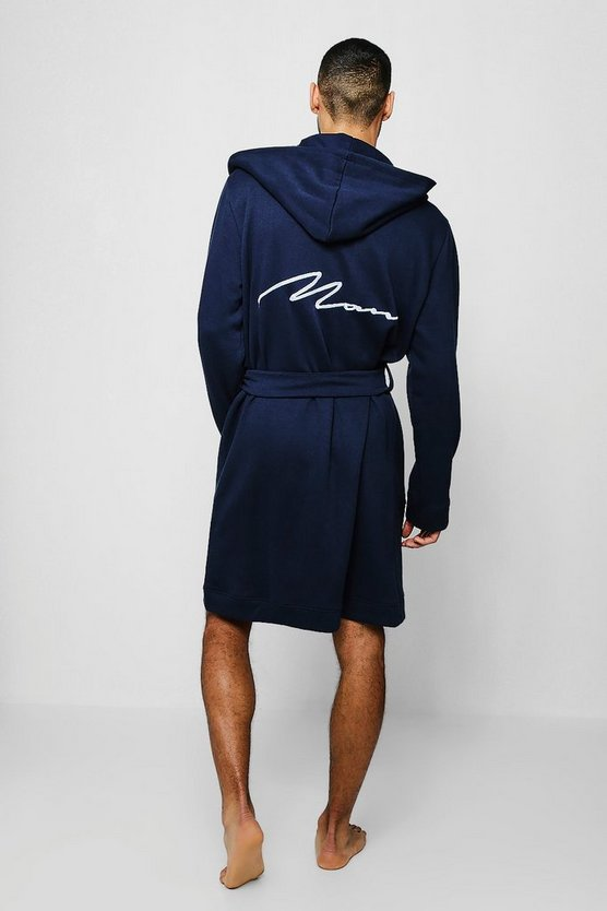 Jersey Fleece Hooded MAN Embroidered Robe