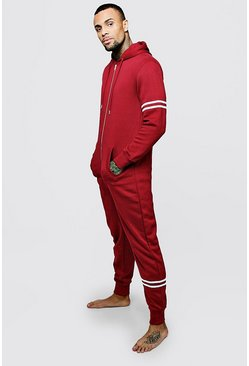 Mens Burgundy Hooded Onesie With Placement Stripes