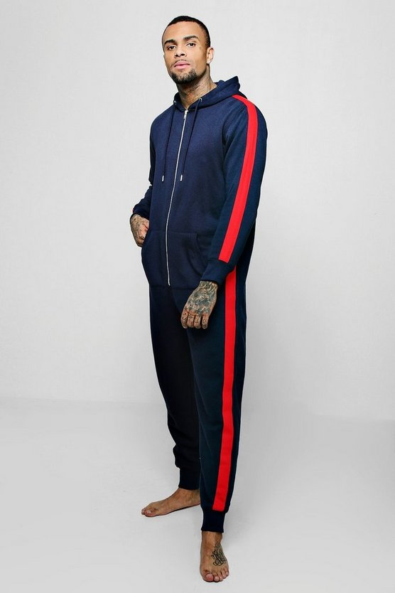 Navy Hooded Onesie With Side Taping
