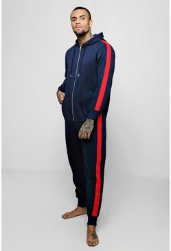 Mens Navy Hooded Onesie With Side Taping