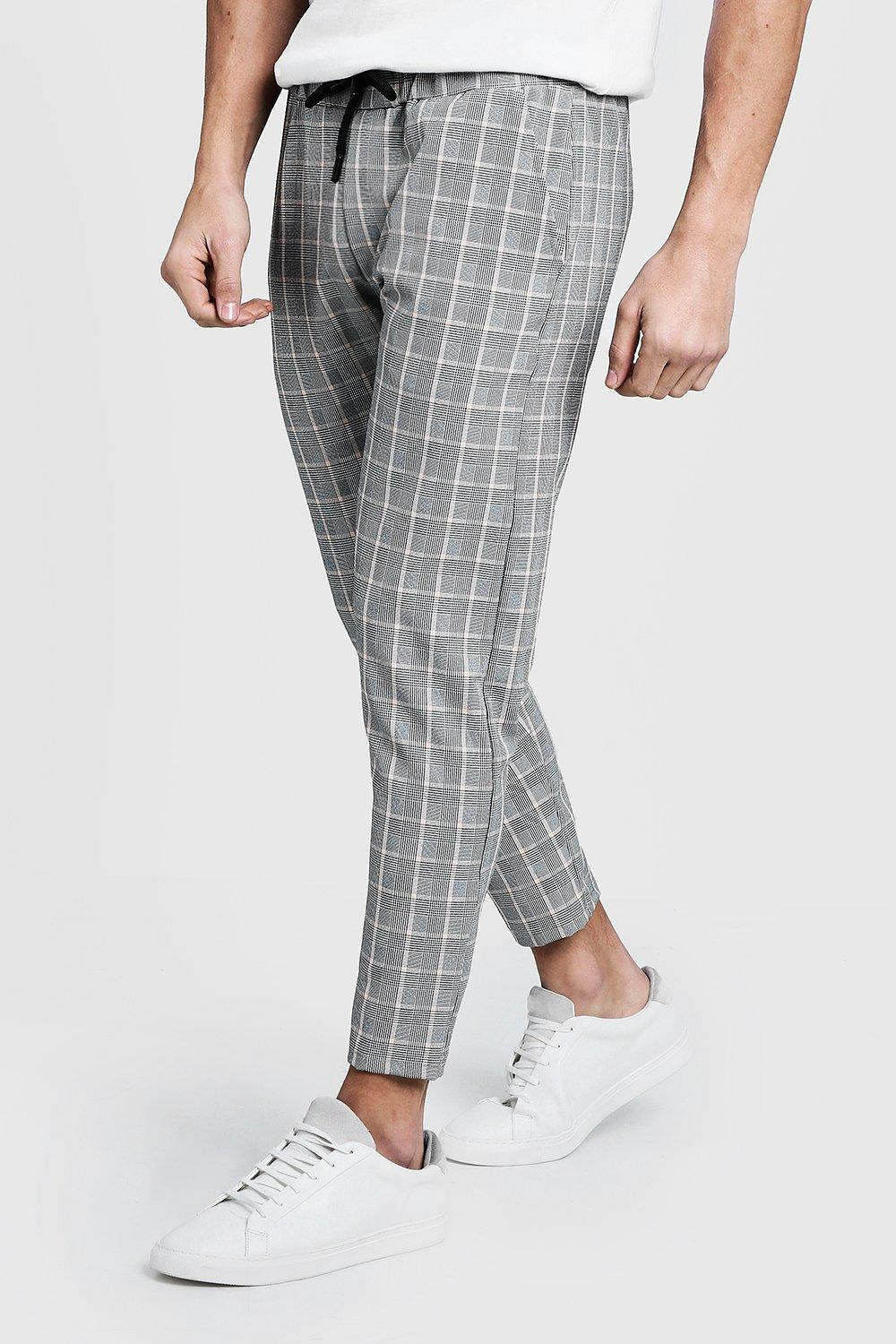 Checked Tape  Cropped Smart Jogger