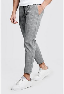 Prince Of Wales Check Taped Cuffed Jogger, Green, Мужские
