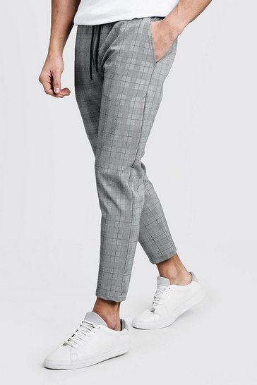 Green Skinny Prince Of Wales Check Smart Jogger