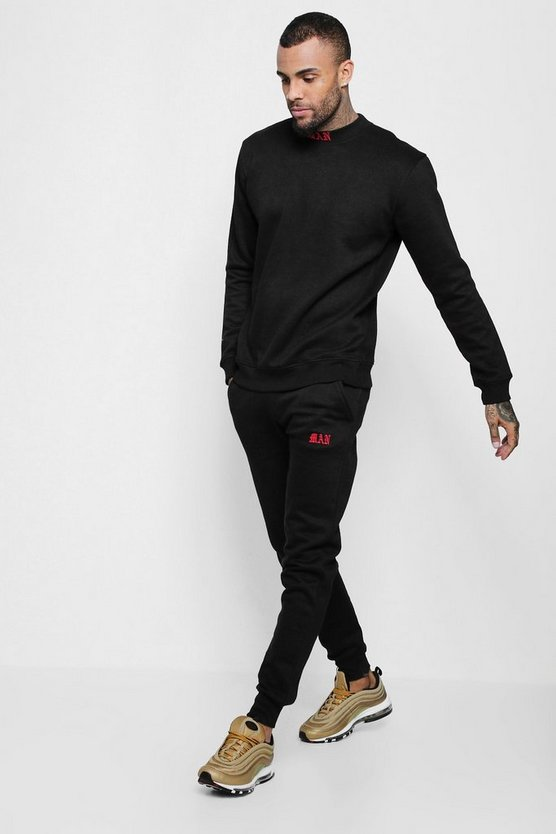 Sweater Tracksuit With MAN Embroidered Neckline