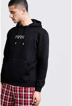 Mens Black Original MAN Print Over The Head Hoodie