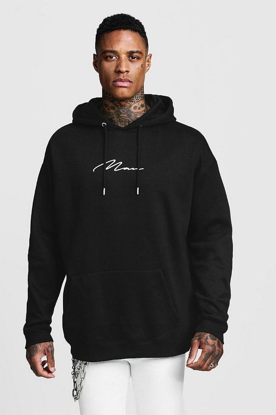 Black Oversized MAN Signature Embroidered Hoodie
