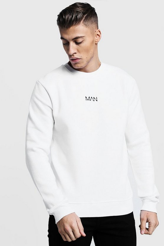 Mens White Original MAN Print Sweater