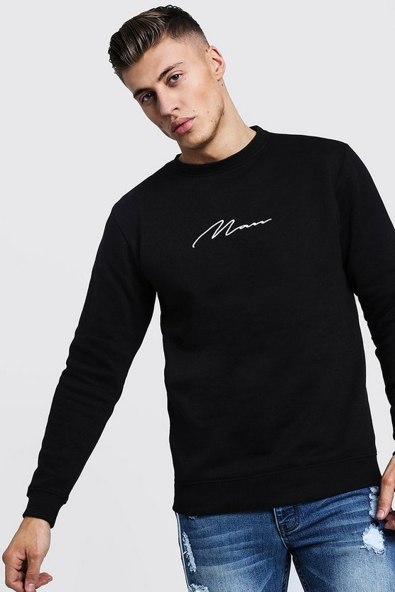 Mens Black MAN Signature Embroidered Sweater