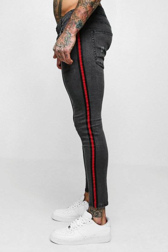 Charcoal Super Skinny Jeans With Side Tape