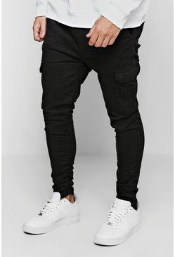 Black Tapered Fit Cargo Trouser