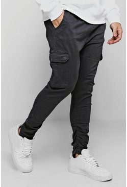 Grey Tapered Fit Cargo Trouser