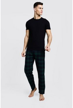 Mens Green Brushed Pyjama Pants With Tee Set