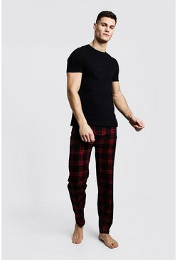 Mens Red Brushed Pyjama Pants With Tee Set