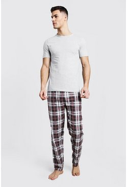 Mens Grey Brushed Pyjama Pants With Tee Set