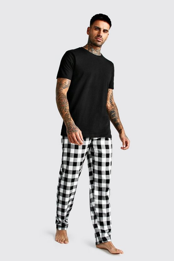 Black Brushed Pyjama Pants With Tee Set