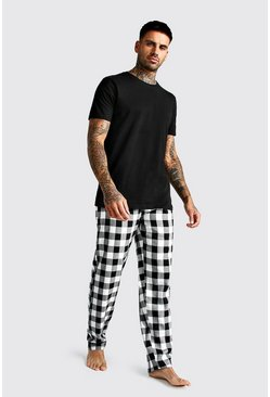 Mens Black Brushed Pyjama Pants With Tee Set