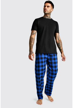 Blue Brushed Pyjama Pants With Tee Set