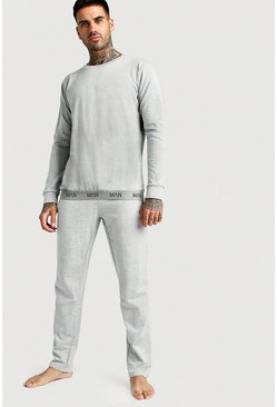 Mens Grey MAN Crew Neck Sweater & Lounge Pants