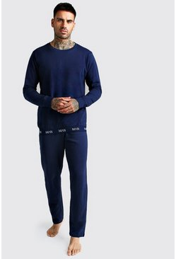 Mens Navy MAN Crew Neck Sweater & Lounge Pants