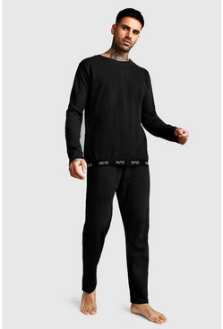 Mens Black MAN Crew Neck Sweater & Lounge Pants