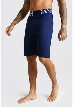 Mens Navy 2 Pack Jersey MAN Pyjama Shorts