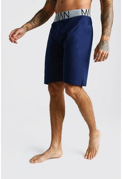 Mens Navy MAN Jersey Lounge Shorts