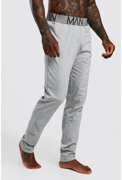 Mens Grey 2 Pack Jersey Pyjama MAN Lounge Pants