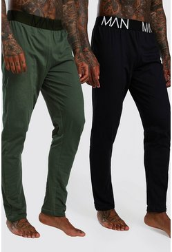 Black 2 Pack Jersey Pyjama MAN Lounge Pants