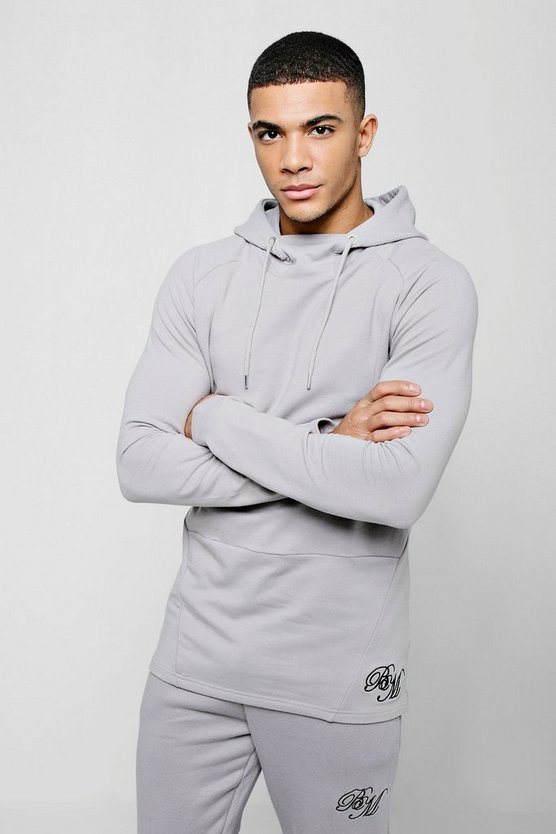 Mens Silver Muscle Fit Long Sleeve BM Hoodie