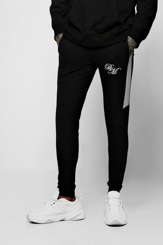 Muscle Fit Joggers With BM And Side Panels