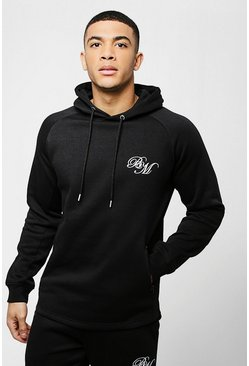 Mens Black Skinny Fit BM Curved Hem Hoodie