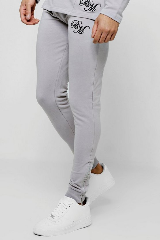 Muscle Fit BM Tapered Skinny Joggers With Zips
