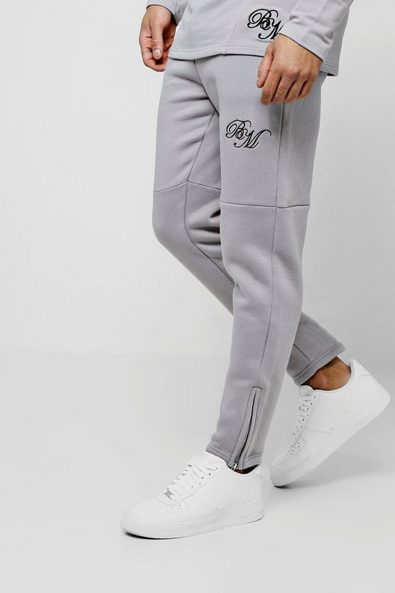 Mens Silver Jersey Skinny BM Joggers With Zip Detail