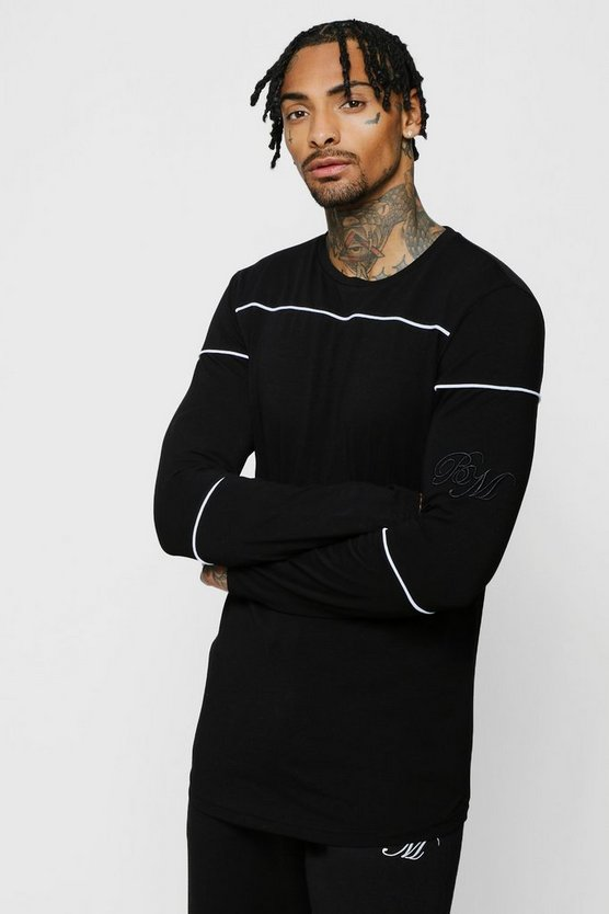 Long Sleeve BM Curved Hem Tee With Pipe Detail