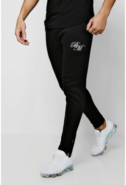 Mens Black Jersey Skinny BM Joggers With Zip Detail