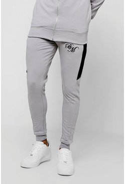 Mens Silver Muscle Fit Joggers With BM and Side Panels