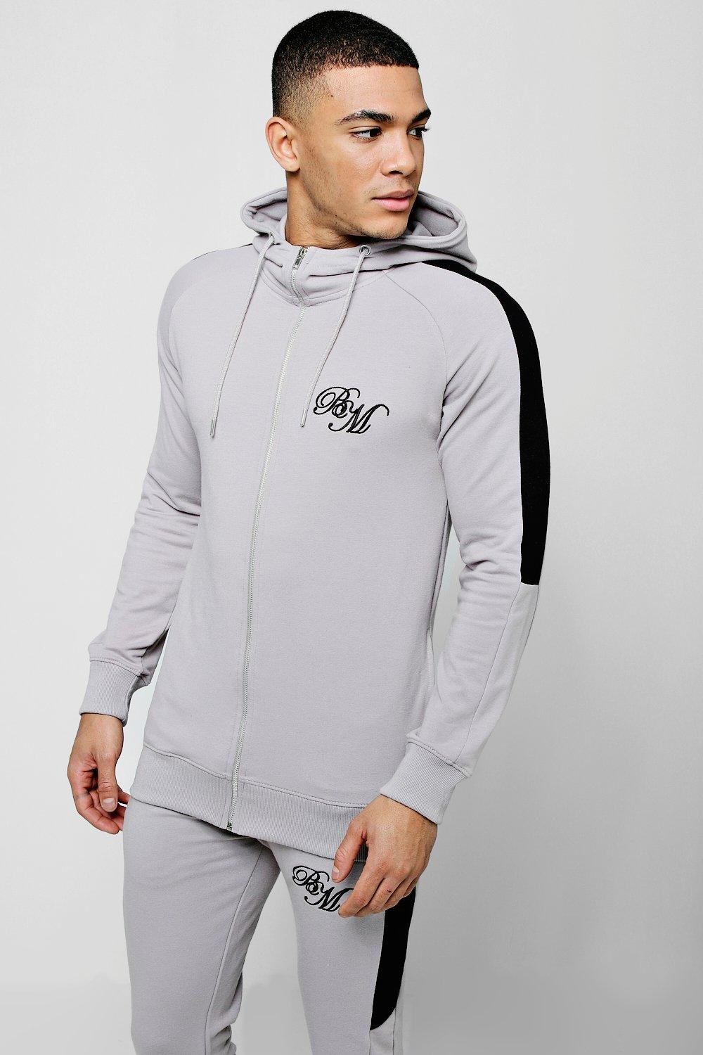 Muscle Fit BM Zip Through Hoodie With Arm Panels