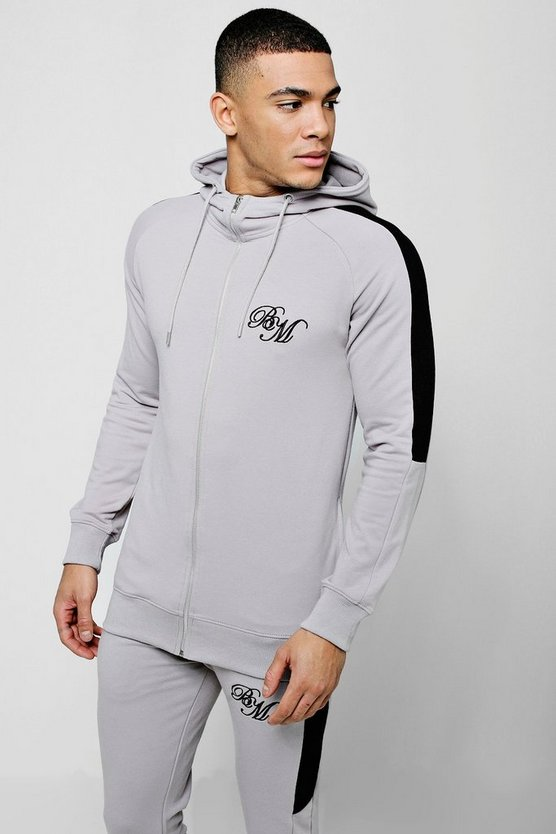 Silver Muscle Fit BM Zip Through Hoodie With Arm Panels
