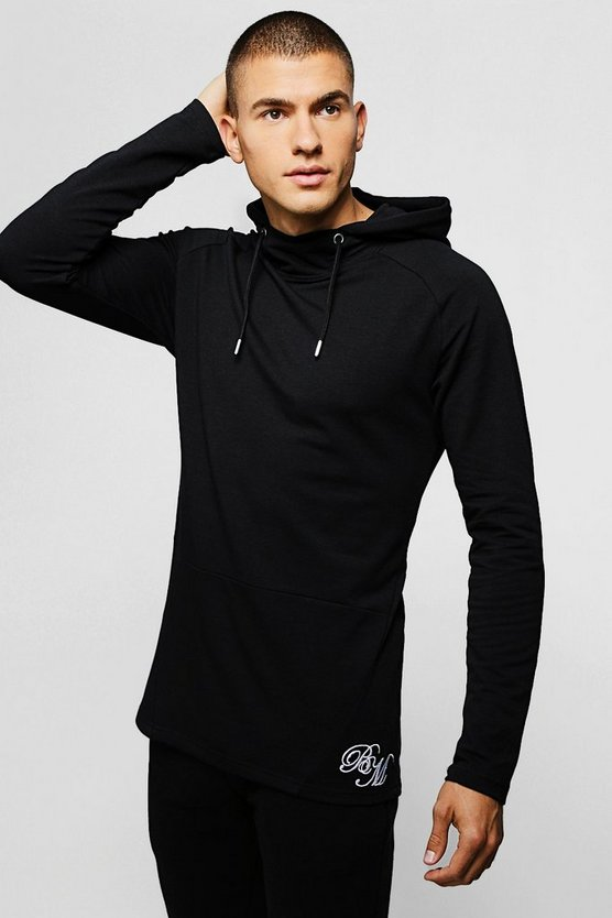 Mens Black Muscle Fit Long Sleeve BM Hoodie