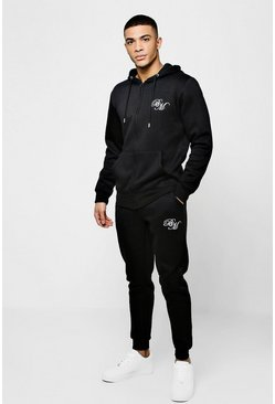 Mens Black Jersey BM Skinny Zip Through Tracksuit