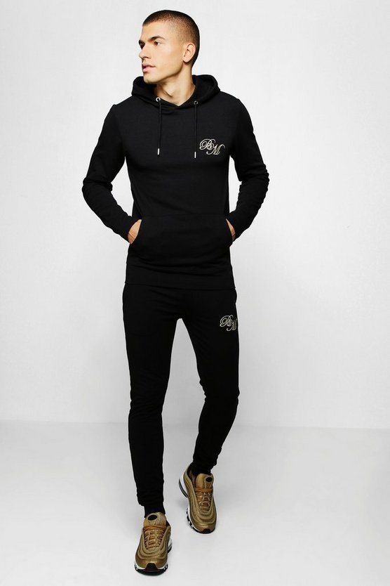 Mens Black Muscle Fit Jersey BM Hooded Tracksuit