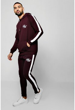 Mens Wine Poly Hooded BM Tracksuit With Side Panels