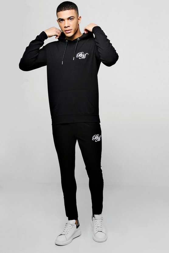 Mens Black Poly Hooded BM Tracksuit With Side Panels