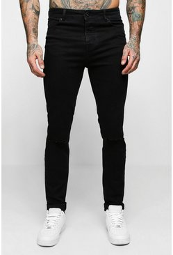Mens Black Skinny Fit Jeans With Ripped Knee