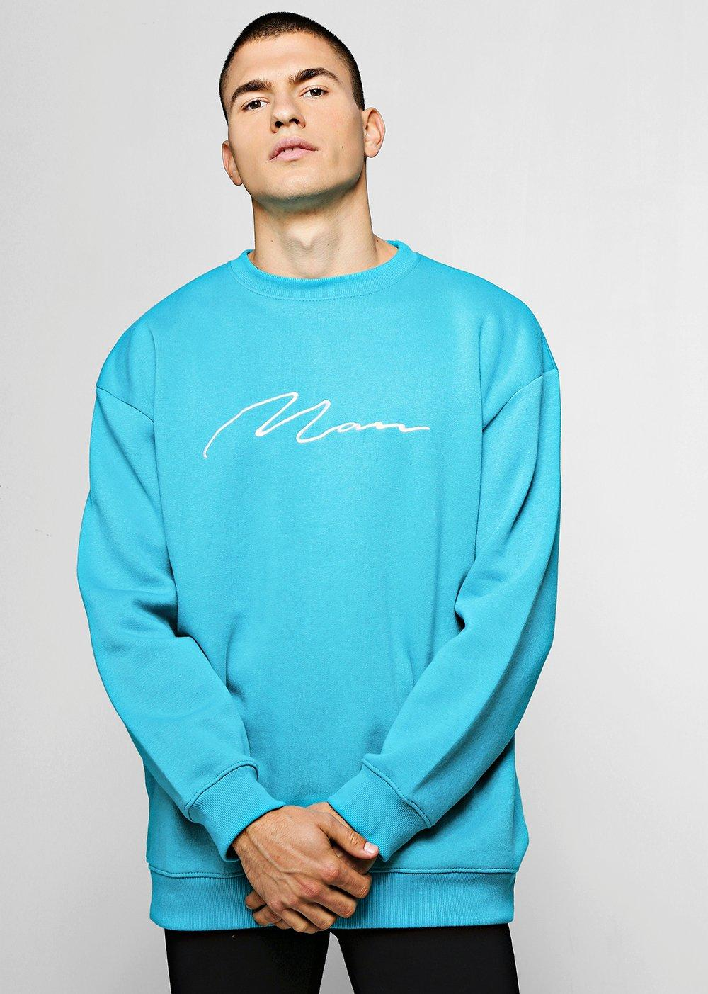 Oversized MAN Signature Embroidered Sweater
