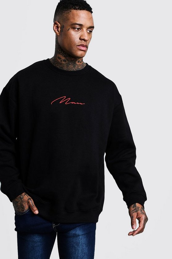 Oversized Red MAN Signature Sweater