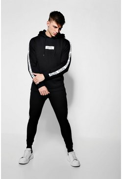 Mens Black Hooded Tracksuit With MAN Dash Panels