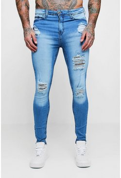 Mens Washed blue Spray On Skinny Distressed Denim Jeans