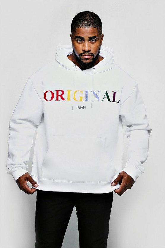 Mens White Big & Tall Original MAN Embroidered Hoodie